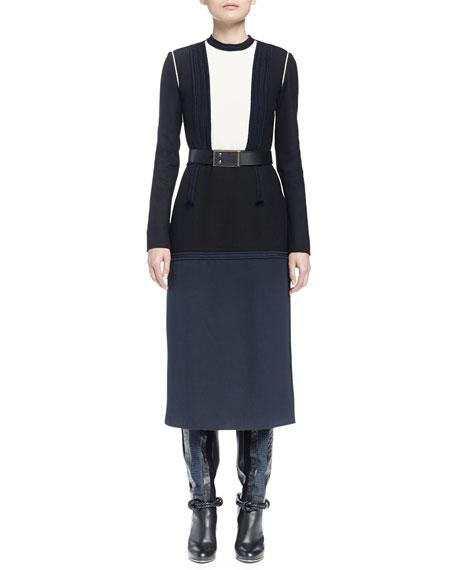 Lanvin Long-Sleeve Colorblock Dress, Navy Blue