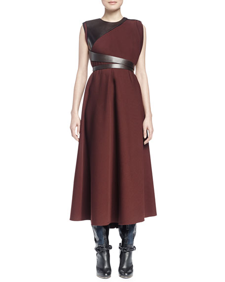Lanvin Sleeveless Jewel-Neck Combo Long Dress, Moka