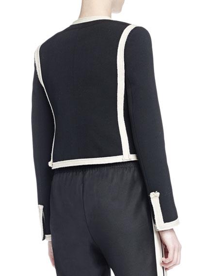 Long-Sleeve Two-Tone Cropped Jacket, Black/Ivory