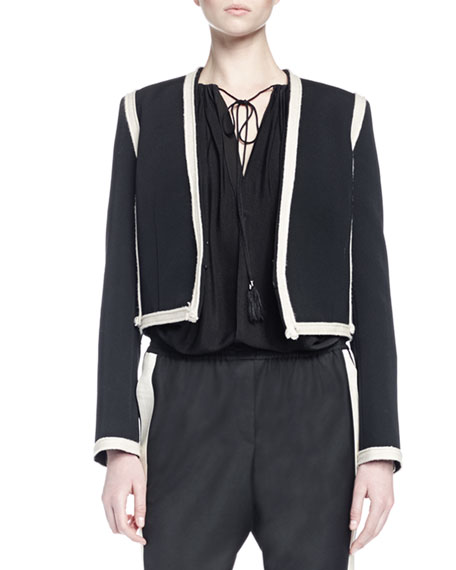 Lanvin Long-Sleeve Two-Tone Cropped Jacket, Black/Ivory