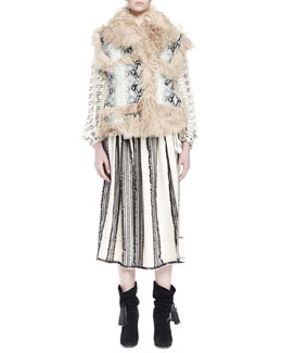 Python-Printed Leather Vest with Shearling Fur Trim, White/Black