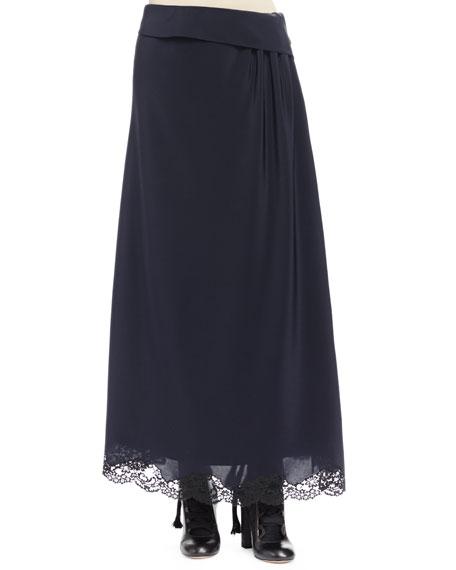 Chloe Side-Ruching A-Line Skirt, Navy