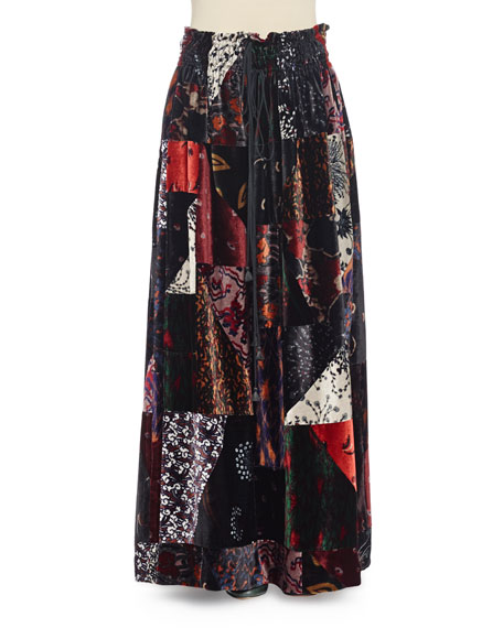 Printed-Velvet Long Skirt, Black Multi