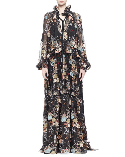 Printed Ruffled Peasant Gown, Black Multi