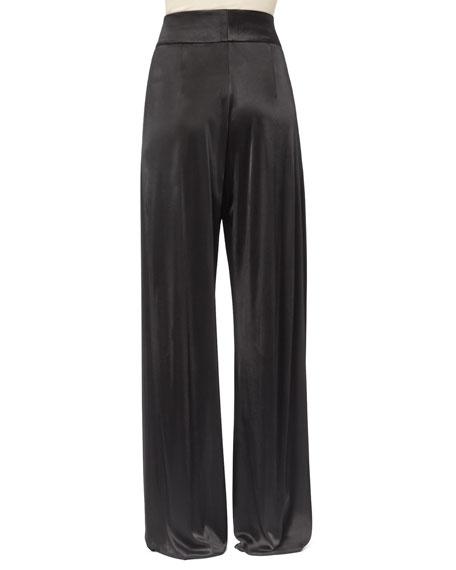 Pleated Satin Pants