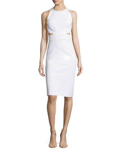 Sleeveless Cutout-Back Sheath Dress, White