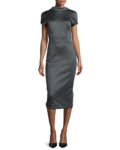 Open Tuxedo-Back Sheath Dress