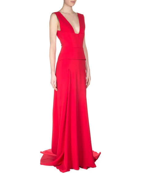 Roland Mouret Lubelia Deep V-Neck Peplum Gown, Red