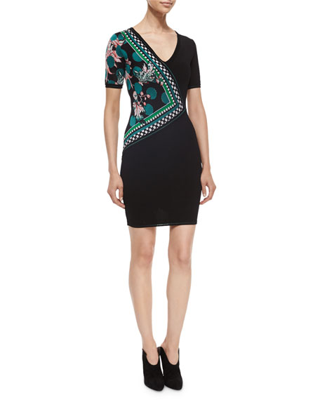 Roberto Cavalli Side-Printed Knit Sheath Dress