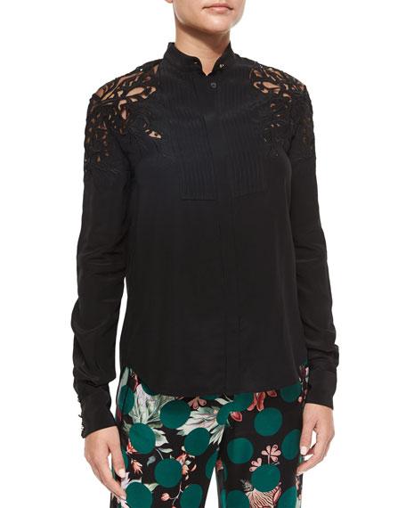 Roberto Cavalli Cutout-Shoulder Silk Button-Front Blouse, Black