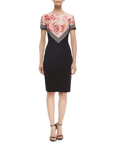 Polka-Dot Rose-Print Contrast Sheath Dress