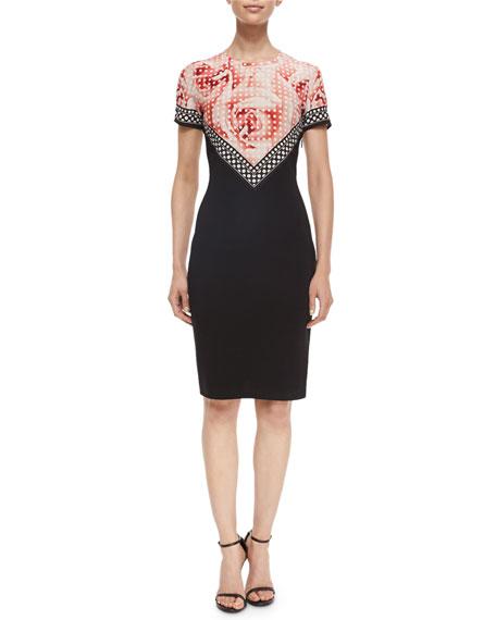 Roberto Cavalli Polka-Dot Rose-Print Contrast Sheath Dress