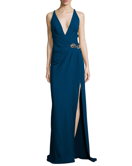 Sleeveless Embellished-Waist Gown, Sapphire