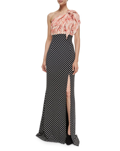 Colorblock Polka-Dot One-Shoulder Gown