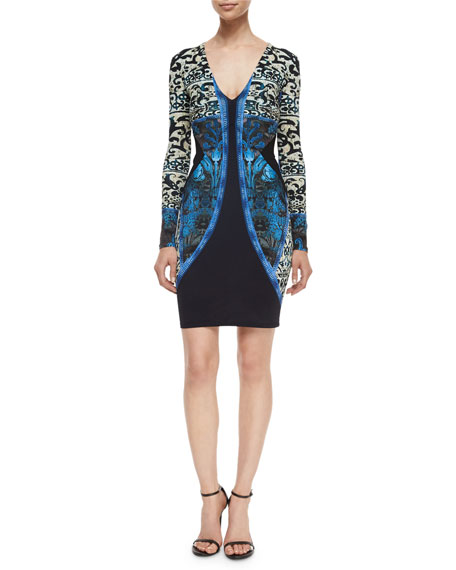 Roberto Cavalli V-Neck Scroll-Print Sheath Dress