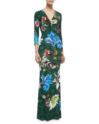 3/4-Sleeve Floral-Print Jersey Gown