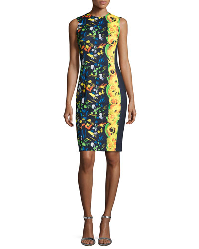 Floral-Print Neoprene Sheath Dress