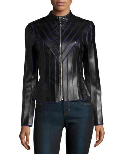 Laser-Cut Leather Contrast Jacket