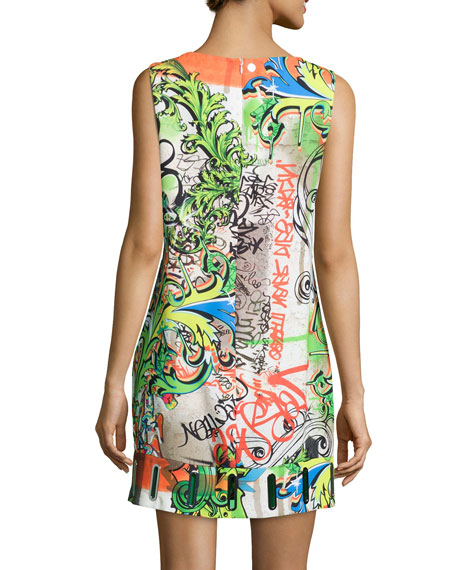 Wall Writers Sleeveless Shift Dress, Orange/Lime