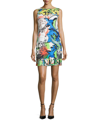 Wall Writers Sleeveless Shift Dress, Orange/Lime
