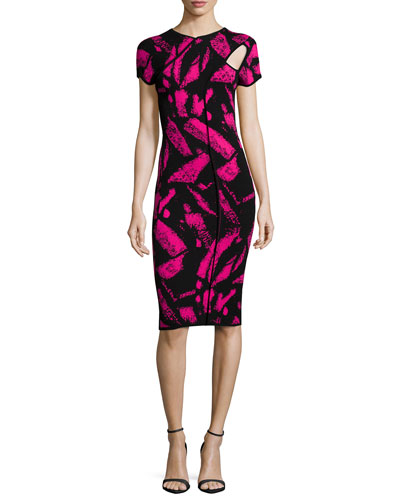 Short-Sleeve Cutout Sheath Dress, Black/Fuchsia