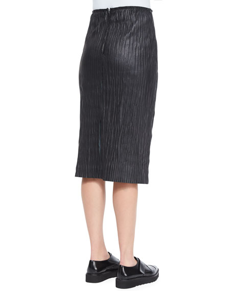 Plisse Pleated Leather Pencil Skirt
