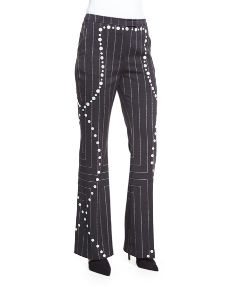 Edun Square Pinstripe Button-Trimmed Flare Pants