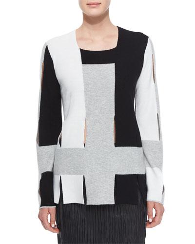 Colorblock Weave Knit Sweater