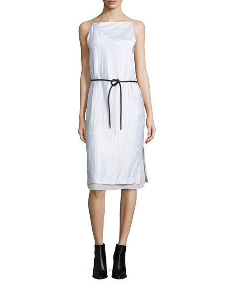 Layered Raised-Seam Satin Shift Dress