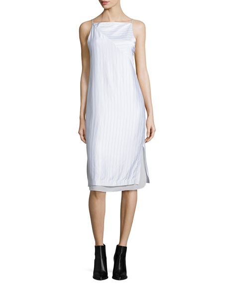 Edun Layered Raised-Seam Satin Shift Dress