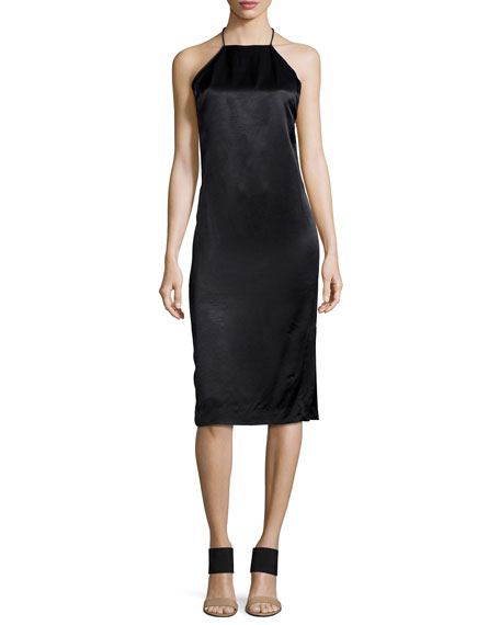Edun Satin T-Back Halter Dress