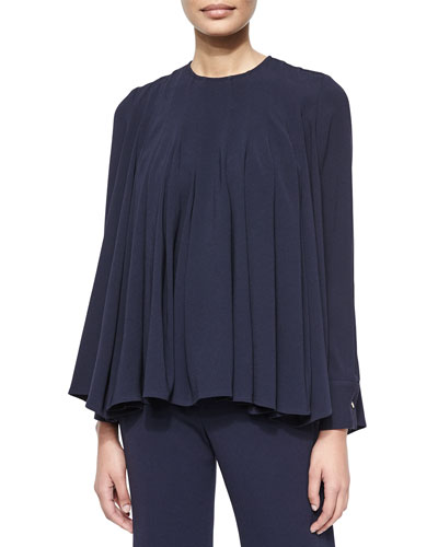 Pleated Crepe Swing Top
