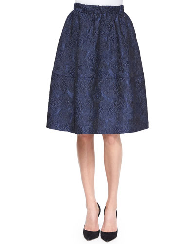 Tuck-Pleated Jacquard Bell Skirt
