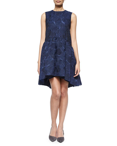 Embossed Jacquard Peplum Dress