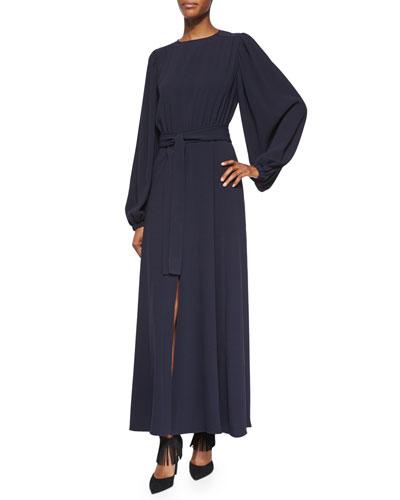 Peasant-Sleeve Front-Slit Belted Dress