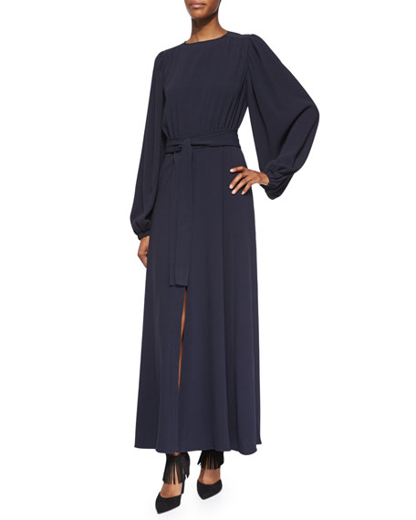 CoPeasant-Sleeve Front-Slit Belted Dress