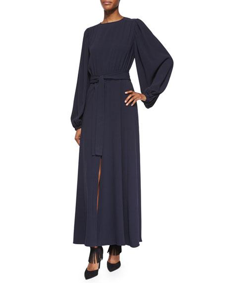 CoPeasant-Sleeve Front-Slit Belted Dress
