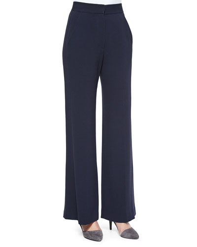 Straight-Leg Front-Press Pants, Navy