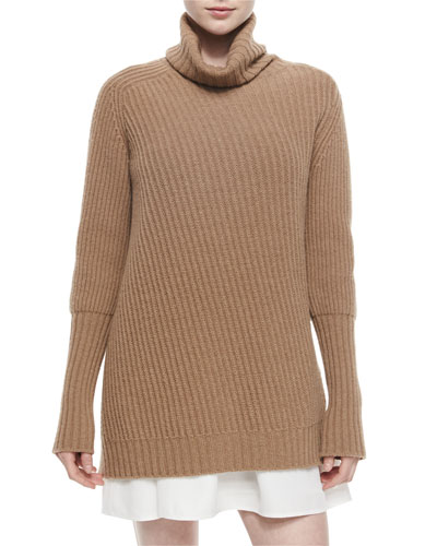 Cashmere-Blend Ribbed Turtleneck Tunic Sweater