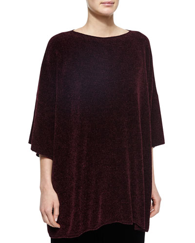 Silk Chenille Bateau-Neck Top