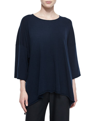 Raised-Hem Cashmere Handkerchief Top