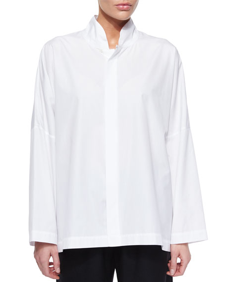 eskandar Poplin Stand Collar Shirt, White