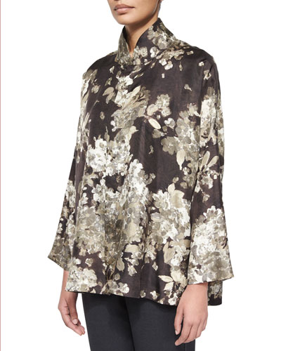 Brushstroke Flower-Print Silk Tunic