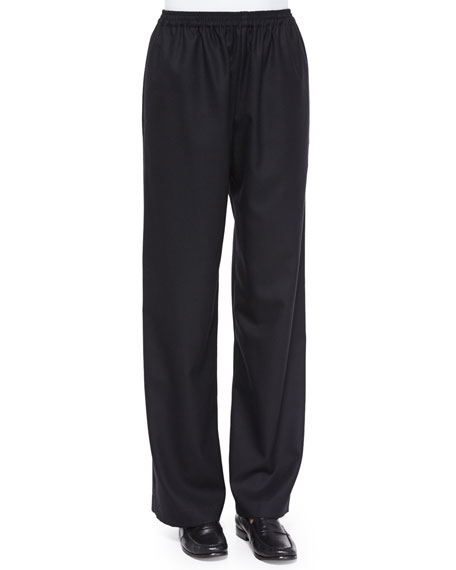 eskandar Pull-On Flannel Trousers, Black