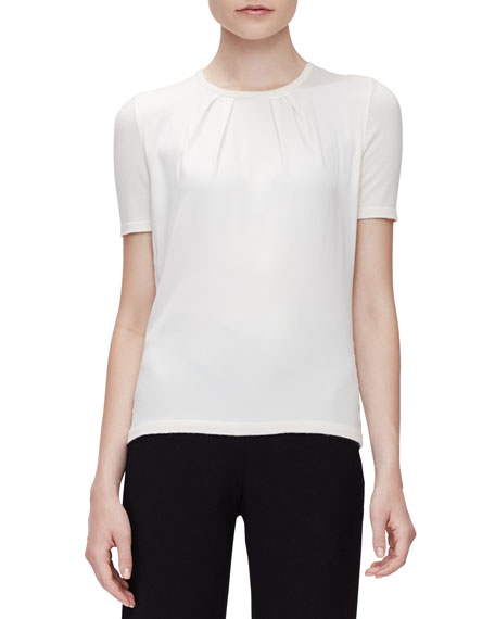 Carolina Herrera Short-Sleeve Pleated-Front Top, Off White