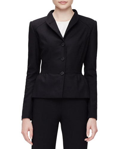 Stand-Collar Peplum Jacket, Black