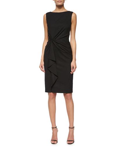 Faux-Wrap Ruffled Sheath Dress