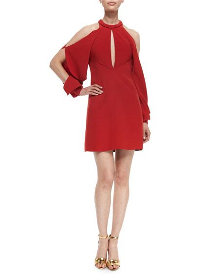 J. Mendel Keyhole Cold-Shoulder Cocktail Dress