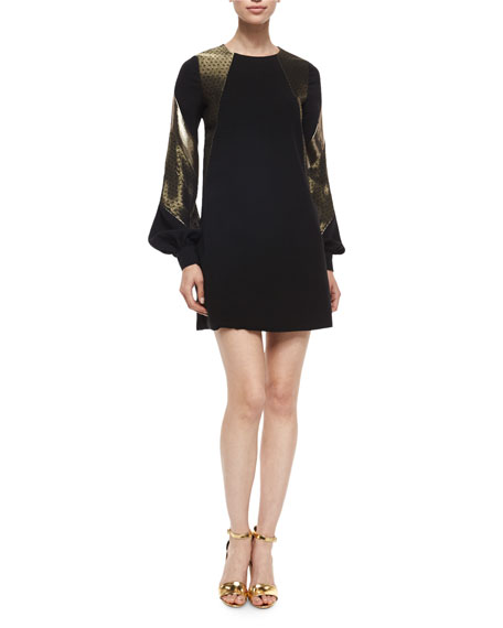 J. Mendel Billow-Sleeve Lame-Inset Dress