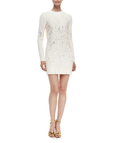 Beaded Open-Back Long-Sleeve Cocktail Dress